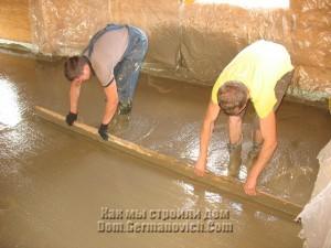 Выравнивание поверхности бетонной заливки