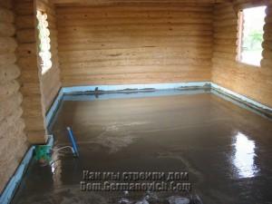 Заливка бетонного пола завершена