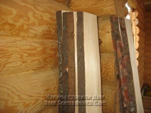 Отрезки необрезной доски для потолка на террасе