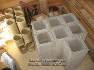 Керамзитобетонные блоки наружной оболочки дымохода