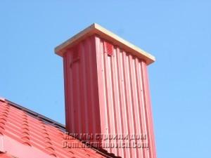 Облицованный дымоход с  решетками вентиляции