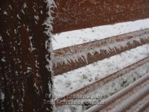 Морозные колючки на заборе
